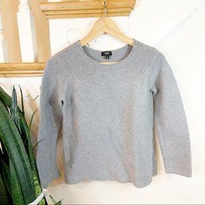 Talbots gray ribbed crewneck sweater PM